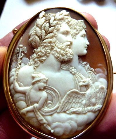 Large Silver Shell Cameo Carved in Italy in Brass Setting with Chain 40x30mm