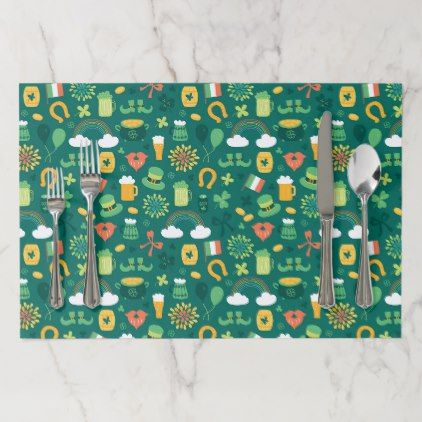 Cute Irish Icon Pattern Paper Placemat Zazzle Com Pattern Paper Placemats Paper