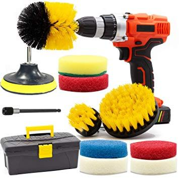 Carpet Cleaning Drill Brush and Scrub Pads GOH DODD 17 PCS Yellow Power Scrubber Cleaning Kit with Long Reach Attachment in Tool Box For Bathroom Shower Scrubbing Grout Scrubbing and Tile Cleaning