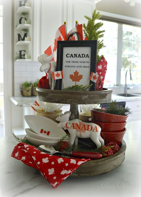 Dining Delight Canada Day Tiered Tray Canada Day Canada Day Party Tray Decor