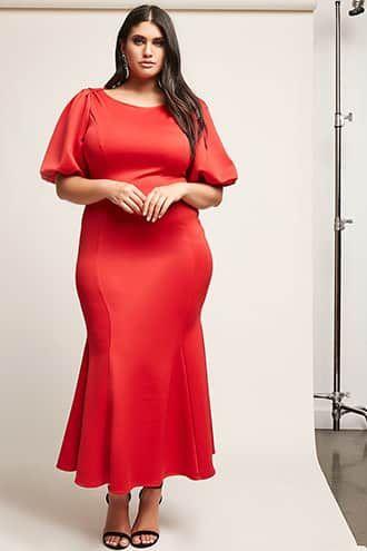 Plus Size Balloon-Sleeve Mermaid Maxi Dress | Plus size red ...