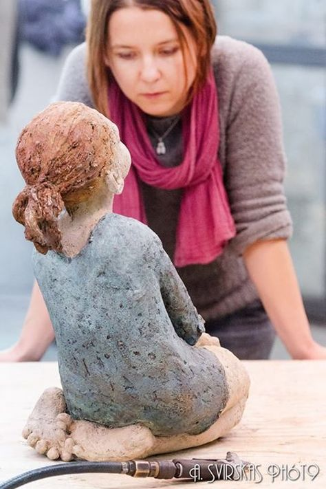 Jurga Martin with her sculpture