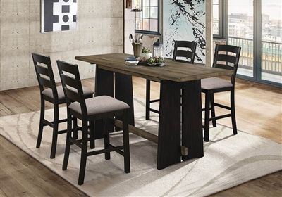 Sabrina Cherry And Black Counter Height Table W 6 Counter Height