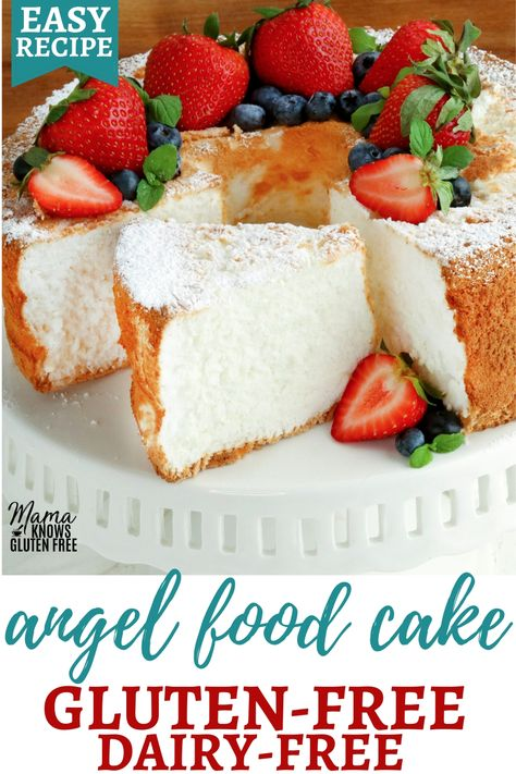 An easy recipe for a gluten-free angel food cake.This classic gluten-free dessert is sweet light and fluffy. Angel food cake is also a naturally dairy-free and low-fat dessert. Gluten Free Angel Food Cake, Gluten Free Food List, Gluten Free Deserts, Gluten Free Sweets, Gluten Free Cakes, Foods With Gluten, Dairy Free Recipes, Best Gluten Free Cake Recipe, Gluten Free Foods