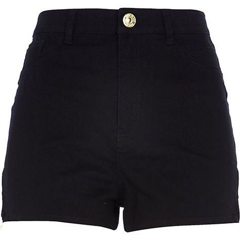 River Island Black high waisted Nori denim shorts ISK) ❤ liked on…