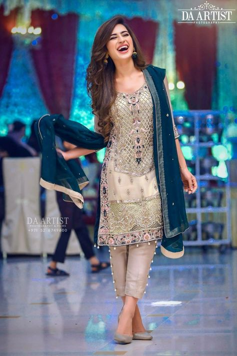 Wedding party dress in dark green and offwhite gray color Model 540 – Nameera by Farooq