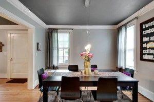 Dining Room, gray walls, dark ceiling, white trim, DIY art | 107 E ...