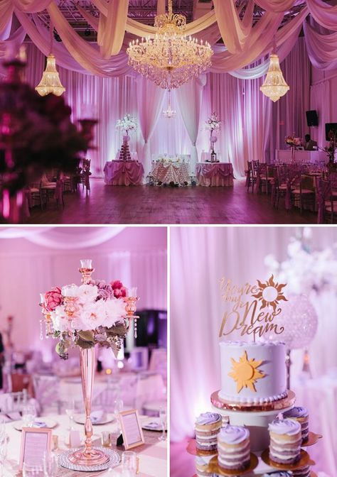 A Tangled Inspired Wedding at the Harry P. Leu Gardens and The Crystal Ballroom of Casselberry Tangled Wedding, Tangled Party, Magical Wedding, Dream Wedding, Wedding Cake, Cute Wedding Ideas, Wedding Inspiration, Disney Wedding Invitations, Debut Ideas