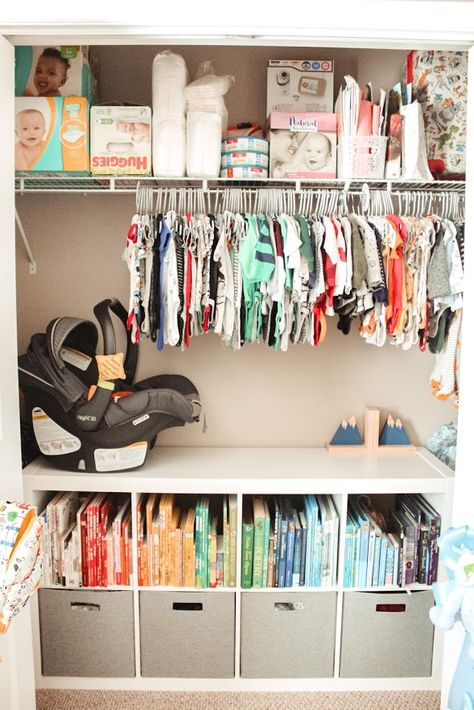 Inspiration for organizing a baby nursery and closet. How to organize books, clothes, gear, diapers, and more! Baby Nursery Closet, Baby Boy Rooms, Baby Boy Nurseries, Girl Nursery, Nursery Room, Nursery Ideas, Baby Closets, Baby Girl Closet, Boys Closet