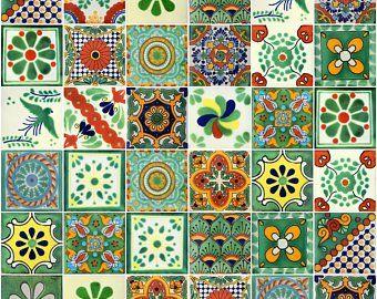 Box Of 100 Mexican Talavera Tiles Handmade Assorted Designs Etsy Talavera Tiles Mexican Talavera Talavera
