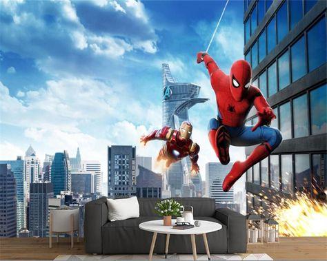 Swinging Spiderman Flying Iron Man Wallpaper Mural for Children