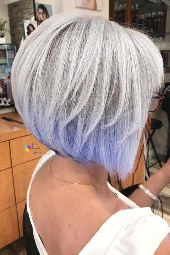 Gorgeous Silver Bob With Lavender Ends Bobhairstylesforwomen Medium Length Hair Styles Hair Styles Womens Hairstyles