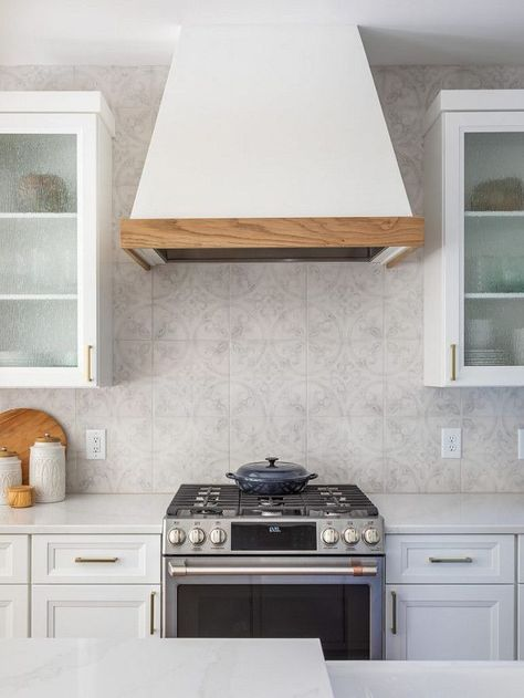 Kitchen Backsplash Tile Grey Patterned Tile Kitchen Backsplash Is