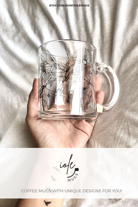 Floral Coffee and Tea Mug Beautiful glass mugs. Iole Mugs can be an Ideal gift for her