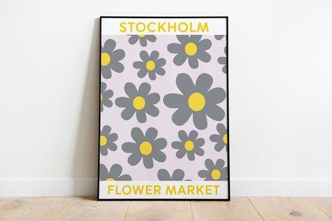 Flower Market Poster, Flower Market Stockholm Print, Pantone Color of the Year 2021 version