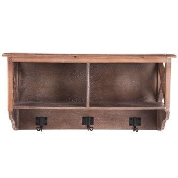 Brown Cubby Wall Shelf With Hooks Wall Storage Shelves Rustic Storage Wall Storage