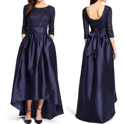 e90169a2c26 MACloth Half Sleeve Hi Lo Prom Dress Dark Navy Sequin Formal Evening Gown