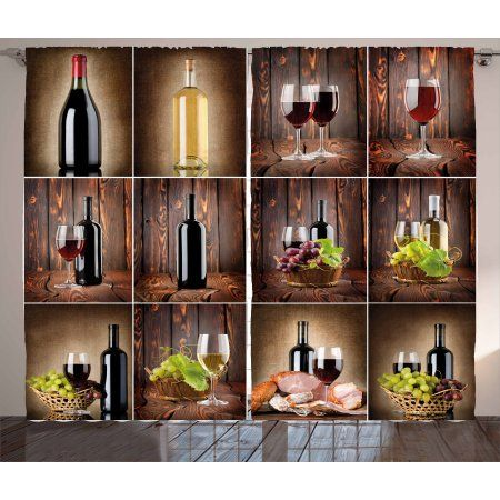 Wine Curtains 2 Panels Set Wine Themed Collage On Wooden Backdrop With Grapes And Meat Rustic Country Drink Window Drape Ambesonne Wooden Backdrops Wine Bath