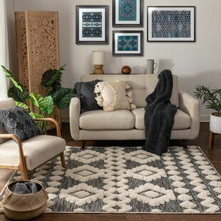Zina Ivory Gray Area Rug Joss Main In 2020 Well Woven White Area Rug Furniture Sale