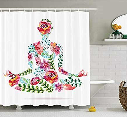 Ambesonne Cloth Shower Curtain Set with Hooks Quick Dry Bathroom Decor