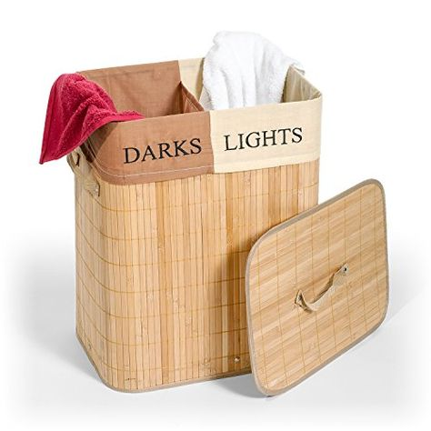 Tatkraft Laundry Basket Bamboo With Cotton Bag 2 Sections For Lights Darks 60 L 42 X 30 X 50 Cm Rectang Laundry Basket Light In The Dark Cotton Bag