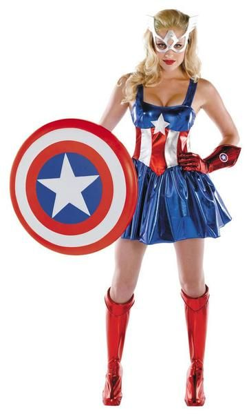 LADIES CAPTAIN AMERICA AVENGERS SUPERHERO COSPLAY FANCY DRESS COSTUME OUTFIT