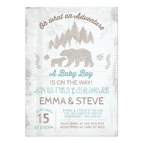 Shop Bear Baby Shower Invitation Boy Adventure Shower created by PixelPerfectionParty.