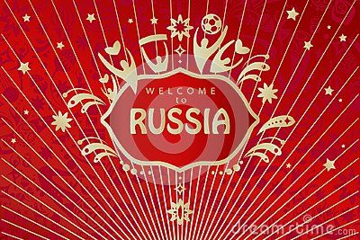 Welcome To Russia Lettering Gold Logo Abstract Folk Art Elements Red Background Vector Illustration Template Russian Folk Art Elements Of Art Banner Vector