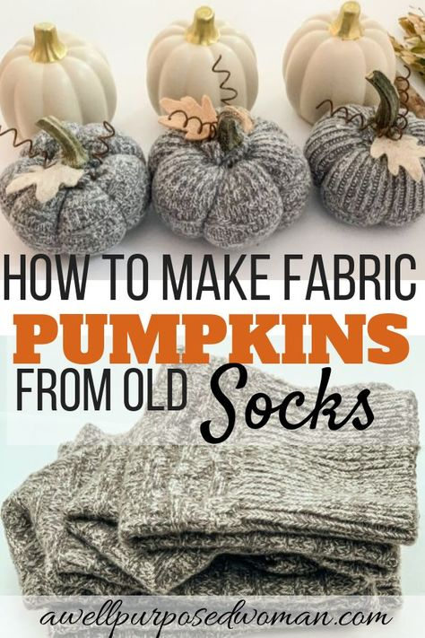 How to Make Fabric Pumpkins from Socks, Shirts and Almost Anything Don't you love fall? Especially cute little precious pumpkins? Fabric pumpkins are an easy and fun addition to fall decor! And the best. Decor Crafts, Diy And Crafts, Sock Crafts, Diy Decoration, Decor Ideas, Adult Crafts, Diy Ideas, Diy Crafts Dollar Store, Crafts With Socks