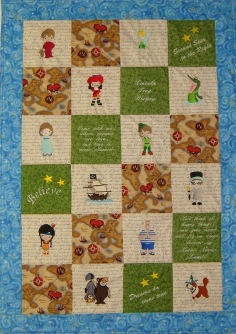 Peter Pan Baby Blanket.Made To Order Embroidered Peter Pan Inspired Baby Toddler