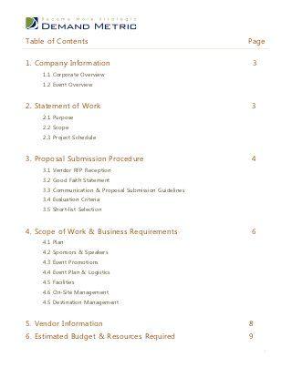 Event Management Rfp Template Event Management Event Proposal