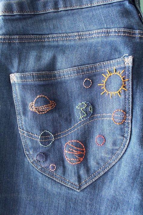 Broderie | Bricolage | Réutilisation | Jeans | Denim | Seconde main | Mode #le ... - French Fashion&Style