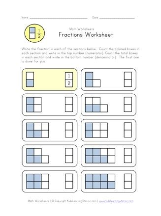 Learn Fractions Worksheet Fractions Worksheets Fractions Fraction Worksheets