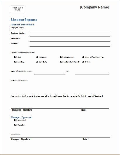Employee Absence Form Template In 2020 Word Template Employee