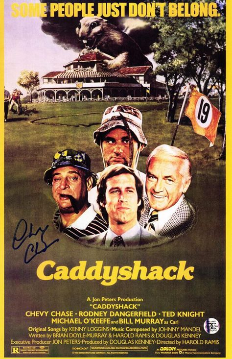 Chevy Chase Signed Caddyshack Movie Poster