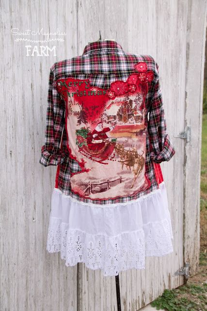 Flannel Shirt - Tunic - Boho Clothing - Upcycled - Womens A- Line Style - Jacket , Coat - Christmas Snowman Santa Bleach Shirts, Cool Shirts, Flannel Shirts, Boho Outfits, Vintage Outfits, Altered Couture, Shirt Refashion, Diy Clothes, Magnolias