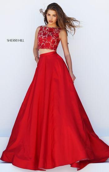 d2c1b4109d3a Sherri Hill 50318 Red two piece Elegant Prom or Formal Dress