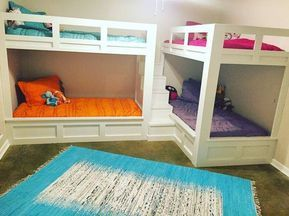 Twin Over Twin L Shaped Quad Bunks The Overall Foot Print To Fit Wall To Wall At 12 6 The Staircase Corner Bunk Beds Diy Bunk Bed Bunk Beds With Stairs L shaped bunk beds with stairs