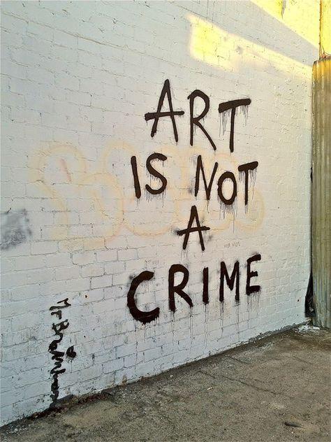 Image via We Heart It #art #crime #graffiti #wall