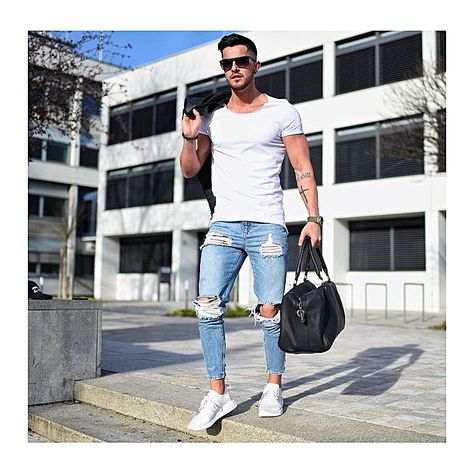 New Fashion casual Slim ripped jeans for men jeans skinny Hole biker jeans  mens jean Pants-blue