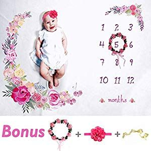 Baby Milestone Blanket Newborn,Photo Props Background with Monthly Growth Chart for Girls and Boys