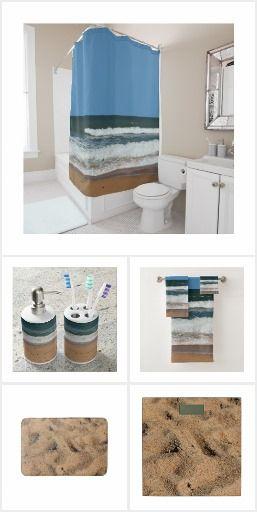 Ocean Beach Waves Crashing On Shore Design Bathroom Decor Beach