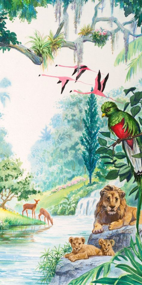 Lions, birds, and deer in the garden of Eden