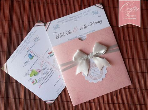 Pink and Blue Boarding Pass Wedding Card, Shangri-la Hotel Kota - best of wedding invitation card kota kinabalu