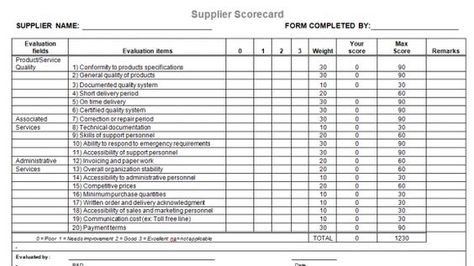 Supplier Evaluation Template For Microsoft Word  Apprentissage