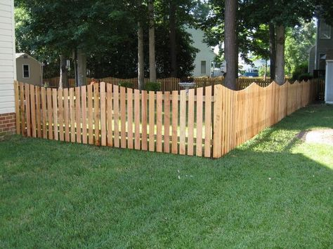 4 Ft Cedar Scalloped Picket Fence Ideas Pinterest Stained To