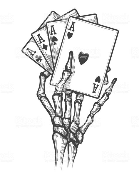 Skeleton hand with four aces - Royalty-free Ace stock vector