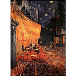 @Overstock - This wall art is a reproduction of Van Gogh's 'The Cafe Terrace on the Place du Forum, Arles at Night,' depicting a colorful cafe at night. The canvas print will make an attractive addition to the decor of any room in your home. http://www.overstock.com/Worldstock-Fair-Trade/Van-Gogh-Cafe-Terrace-on-the-Place-du-Forum-Canvas-Wall-Art-China/5079574/product.html?CID=214117 $28.49