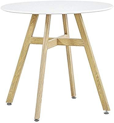Amazon Com Greenforest Round Dining Table With 32 White Wooden Table Top And Sturdy Wooden Paint Metal Legs Ki Round Dining Table Wooden Table Top Tea Table