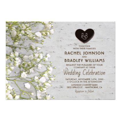 Rustic Country Birch Tree Baby S Breath Wedding Invitation Zazzle Com Country Wedding Gifts Babys Breath Wedding Wedding Invitations Rustic Country
